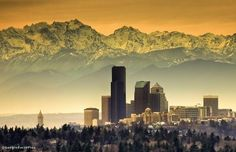 Sunrise in Seattle, Washington, US