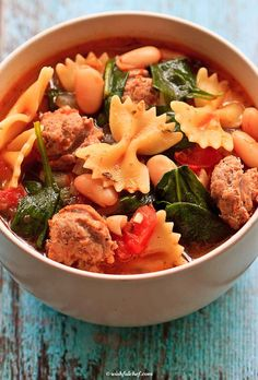 Healthy Italian Winter Soup with Turkey Sausage by wishfulchef #Soup #Italian #Healthjy