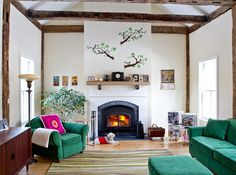 simple turquoise couches and white walls - living room. #colorful #decor