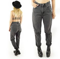 Black 90s High-Waisted Grunge Jeans Vintage Mom Jeans High