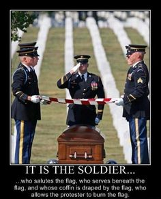 A military funeral. One of the most dignified, serious, and honorable experiences I have ever had when I attended my father's burial at Arlington National Cemetery. The American Military never forgets and always honors one of their own. A true band of brothers and sisters unlike any other.