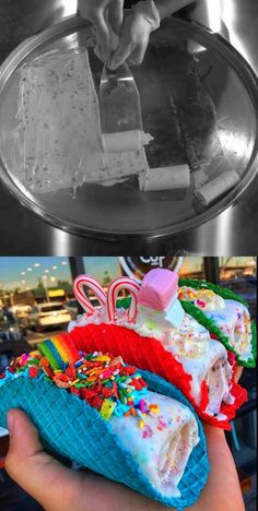 Before & After: Rainbow & Holiday Ice Cream Tacos by Sweet Rolled Tacos Roll Up Ice Cream, Ice Cream Taco, Rainbow Ice Cream, Ice Cream Desserts, Cute Desserts, Yummy Snacks, Delicious Desserts, Yummy Food, Rainbow Food