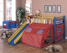$424.19 (Save 39%) Coaster Bunk Bed with Slide and Tent, Multicolor by Coaster Home Furnishings