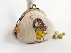 Coin purse / Hand painted purse / Metal frame purse / by DooDesign, $26.90