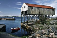 """Fisherman's """"house"""" in Øygarden, NORWAY. Øygarden is an archipelago in the west of Bergen and consists out of 550 islands and reefs."""