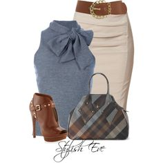 Ralph Lauren blouses, Donna Karan skirts and MICHAEL Michael Kors ankle booties.