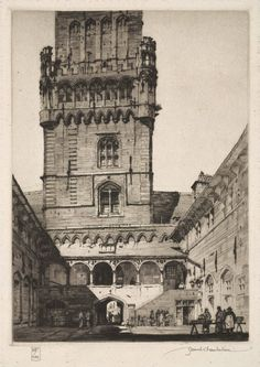 Samuel Chamberlain (1895-1975-American) - Courtyard Market, Bruges - 1928