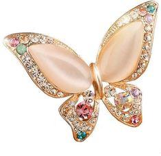 Opal Stone Butterfly Brooch Pins Animal Brooch Birthday Gift