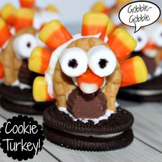 I am totally all about themed food!  With Thanksgiving coming up quickly, I decided to create some fun Thanksgiving treats!  These Thanksgiving cookie turkeys are super fun treats to create with the kids. Print Thanksgiving Cookie Turkey A super easy Thanksgiving treat Course: Dessert Author: Jennifer Fishkind Ingredients Oreo Cookies Nutter Butter Mini Reese's Peanut …
