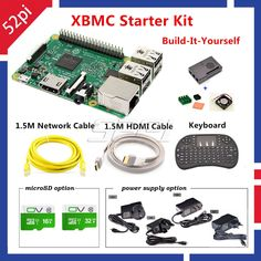 Raspberry Pi 3 Model B 1GB RAM Quad Core 1.2GHz CPU XBMC Media Starter Kit