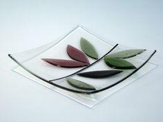Warm Petals Clear Glass Art Bowl