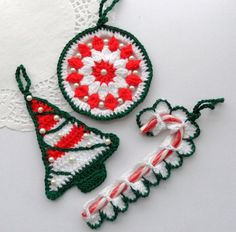 Crochet Christmas Ornaments Decorations  Pack of by CraftsbySigita