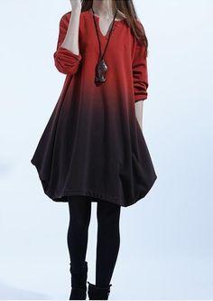 Red Stylish Sweater Cotton Shirt Dress Christmas dress Floral Homecoming Dress maternity dress