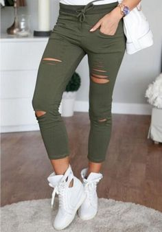 50d295155e5 Army Green Hole Long Skinny Pants Hippie Cropped Jeans Stretchy Trousers  E123