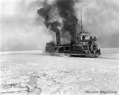 Steamboat Crossing Detroit River  Old Photo