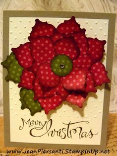 Poinsettia Made from Mosaic Punch - Christmas Card - Stampin' Up!  http://www.jeanpiersanti.stampinup.net