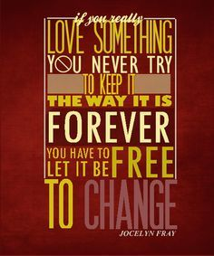 If you really love something you never try to keep it the way it is forever. You have to let it be free to change. - Jocelyn, The Mortal Instruments