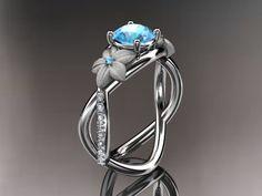 14kt  white gold diamond leaf and vine birthstone ring ADLR90 Aquamarine - March's Birthstone. nature inspired jewelry. $1,275.00, via Etsy.