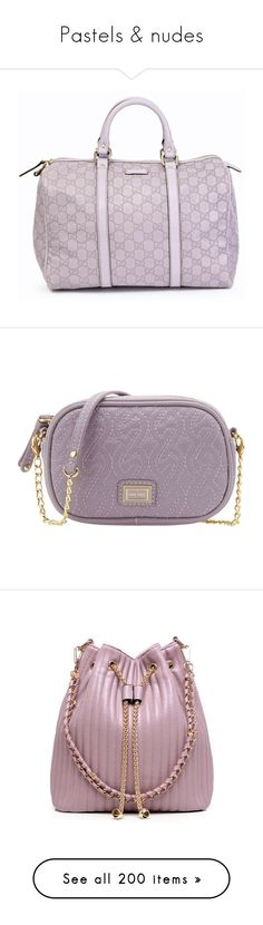 """Pastels & nudes"" by priscilla12 ❤ liked on Polyvore featuring bags, handbags, bolsas, borse, purses, women, purple handbags, monogrammed purses, leather hand bags and monogrammed handbags"