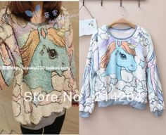 Free Shipping!unicorn cartoon angel horse fleece sweaters sweatshirt women o neck long sleeve pullover hoodies sweater cute-in Hoodies & Sweatshirts from Apparel & Accessories on Aliexpress.com