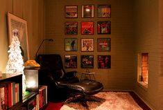 Reading corner. Pinned for that idea, not for framed record albums as art. It will be a cold day in -- well, wherever before I separate my vinyl from its covers, or hang them both on the wall.