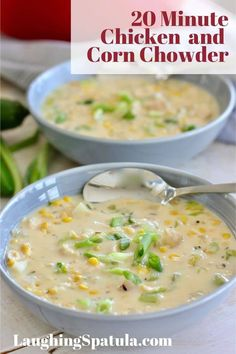 This super delicious 20 Minute Chicken and Corn Chowder can be whipped in no time! We start with cooked chicken like store bought rotisserie and add corn, veggies, milk and a pepper for a little kick! #soup #chickensoup #easychickensoup #rotisseriechicken #creamychickensoup Chowder Recipes, Soup Recipes, Chicken Recipes, Cookbook Recipes, Casserole Recipes, How To Cook Chicken, Cooked Chicken, Rotisserie Chicken, Chicken Corn Chowder