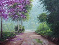 paisagem com ipê  pintura òleo sobre tela