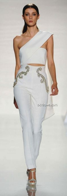 Structured tailored white top | Fausto Sarli Spring Summer 2012 Couture