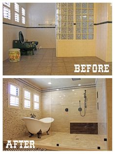 Master bathroom remodel before and after. #home #interiordesign
