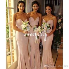Sexy Blush Pink Mermaid Bridesmaid Dresses 2016 Cheap Sweetheart Split Zipper Plus Size Satin Evening Gowns Long Formal Maid of Honor Dress Online with $72.99/Piece on Sweet-life's Store | DHgate.com