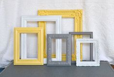 Yellow, Grey Gray White Ornate Frames with GLASS set of 6 - Upcycled Frames Modern  Bedroom Decor  - Interior Ideas