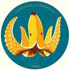 Bananoctopus #banana #octopus #illustration