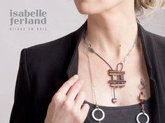 necklace //  asymmetrical // unique // wood necklace // chic // pendant / stainless steel de la boutique IsabelleFerland sur Etsy