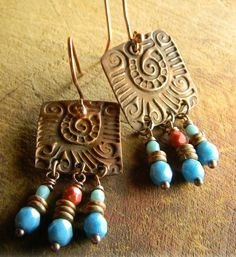 Mayan Style Copper Earrings Blue Czech Glass Red by ChrysalisToo, $49.00
