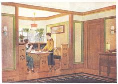 """Breakfast nook published in millwork catalog in1921 by the Morgan Woodwork Organization and called """"Building with Assurance."""""""