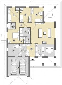 Projekt domu SD Patagonia D CE - DOM - gotowy koszt budowy Family House Plans, Bedroom House Plans, Home Design Floor Plans, House Floor Plans, Circle House, Modern Bungalow House, Tiny Apartments, Cottage Design, Facade House
