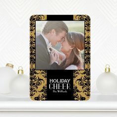 Oh so chic! Shimmering Brocade - Flat #Holiday Greeting Cards - East Six - Black and Gold