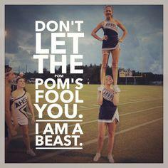 Don't let the pom pom's fool you I am a beast! #cheer #cheerleading #sideline #strong