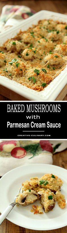 Without a doubt my absolute favorite side dish for holiday meals. I would trade you my turkey AND dressing for these Baked Mushrooms in a Parmesan Cream Sauce.