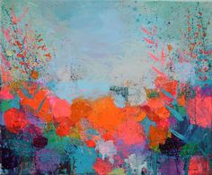 ARTFINDER: Orange Pink And Blue Winter by Sandy Dooley - An impressionistic, abstracted landscape painting. Inspired by winter,  the colours of winter berries, sunshine and hedgerows. This 4 30x25cm canvas is unf...