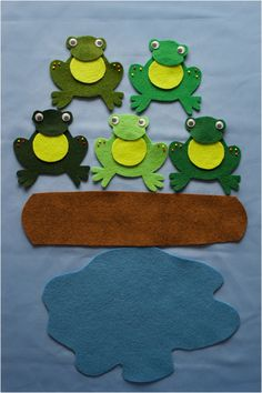 Five Little Speckled Frogs Felt Board Set Digital Pattern Flannel Board Stories, Felt Board Stories, Felt Stories, Flannel Boards, Felt Board Templates, Felt Board Patterns, Felt Magnet, Early Childhood Centre, Five Little