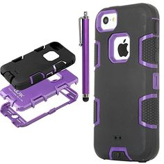 iPhone 5S Case,Pandamimi ULAK(TM) Case for Apple iPhone 5S 5 5G Full Protection Hybrid 3 Layer Soft Silicone Armor Hard Inner Cover with Screen Protector and Stylus (Purple/Black) ULAK http://www.amazon.com/dp/B00MIPLOS2/ref=cm_sw_r_pi_dp_EaDzub1ZGA7RV