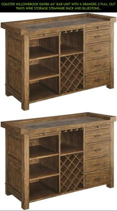 """Coaster Willowbrook 106986 64"""" Bar Unit with 4 Drawers 2 Pull Out Trays Wine Storage Stemware Rack and Bluestone Laminate Top in Rustic Ash and Gunmetal #tech #racing #fpv #technology #plans #with #camera #gadgets #drawers #products #shopping #unit #parts #kit #storage #drone"""