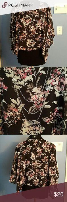 IZ Byer dress top IZ Byer dress top with attached necklace. Black tank with sheer floral overlay. Overlay is open at shoulders all the way down.iz Iz Byer Tops