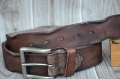 Men's Belt/Leather Belt/Distressed Belt/Durable/Thick by rateaa