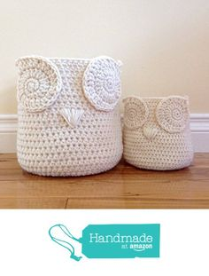 Owl Storage Baskets - Set of 2 - Cream/Ivory from Grindle Hill Fine Goods