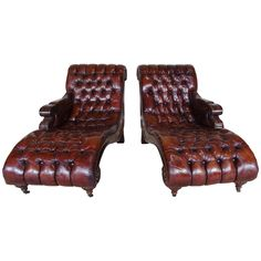 Pair of Italian Leather Tufted Chaises, circa 1930s   From a unique collection of antique and modern chaise longues at https://www.1stdibs.com/furniture/seating/chaise-longues/