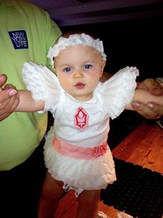 Halloween costume made out of coffee filters + a onsie. :)