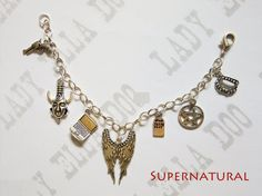 A charm bracelet inspired by the show Supernatural The bracelet has seven silver plated alloy charms:- A revolver Dean's amulet A laptop Angel Wings Gravestone Pentagram Vampire fangs The chain is 20c