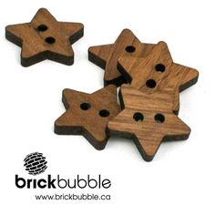 Brickbubble | Simple Stars - solid walnut designed a cut in our home studio. #woodbuttons #buttons